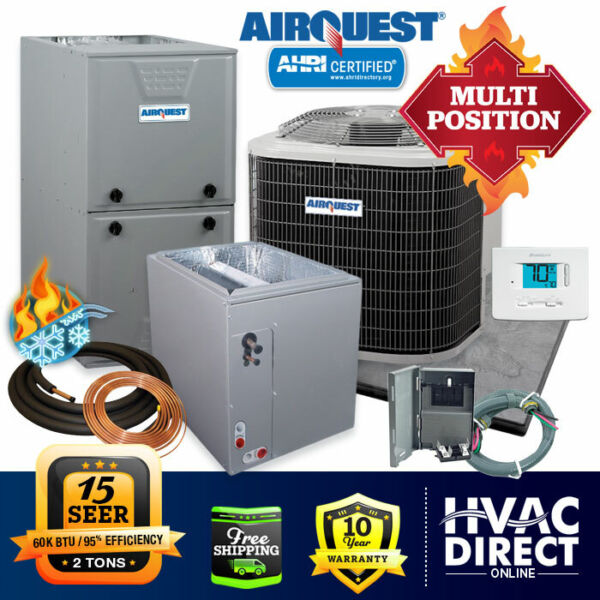 2 Ton AirQuest Heil by Carrier 15 SEER 95% 60K BTU Gas Furnace AC System w Kit $2617.00