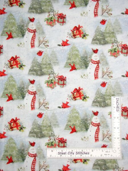Christmas Snowy Cardinals Snowman Susan Winget Cotton Fabric CP69168 By The Yard