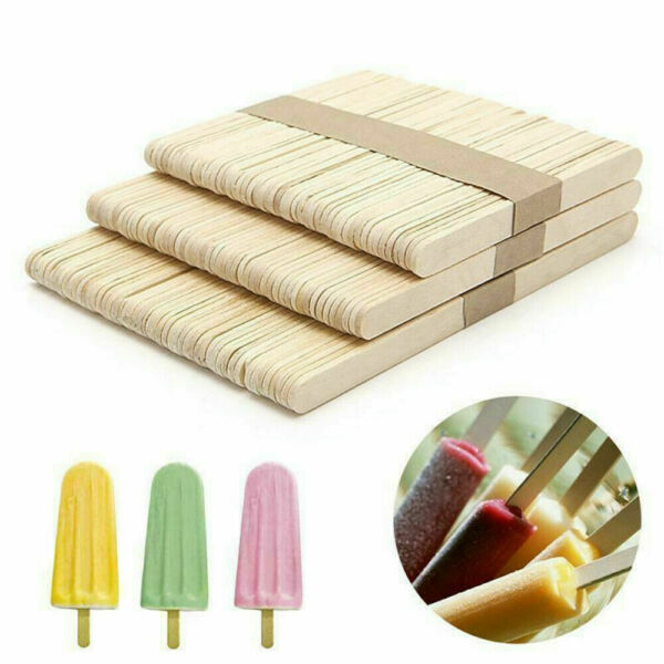 50pcs DIY Wood Popsicle Sticks Ice Cream Stick Cake Wooden Craft Hand Making Set