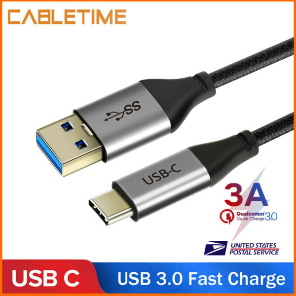 Cabletime USB 3.0 Type C Cable 3A USB C Fast Charging Data Cable For Samsung S10