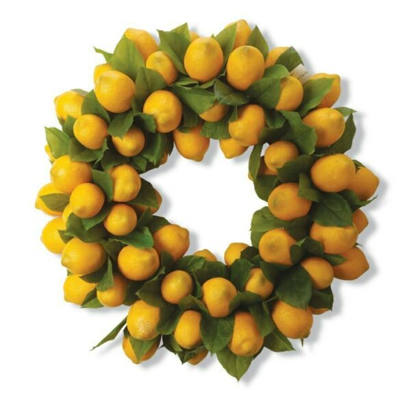 Lemon Wreath Premium Yellow 24 inch K&K Interiors