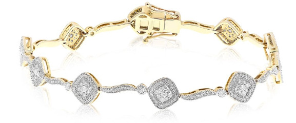 1.30CT DIAMOND 14KT YELLOW GOLD CLUSTER SQUARE BY THE YARD FUN TENNIS BRACELET
