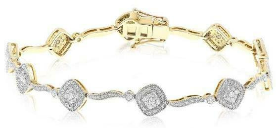 1.30CT DIAMOND 14KT WHITE GOLD 3D CLUSTER SQUARE BY THE YARD FUN TENNIS BRACELET