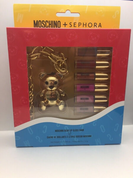 MOSCHINO SEPHORA BEAR LIP GLOSS CHAIN SET BRAND NEW IN BOX AUTHENTIC $56.99