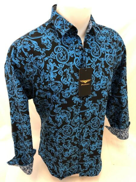 Men PREMIERE Long Sleeve Button Down Dress Shirt BLUE BLACK PAISLEY DESIGNER 623