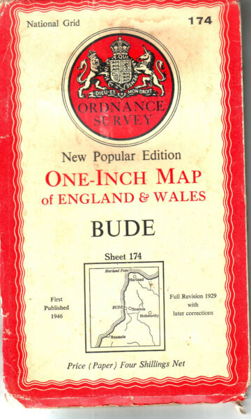 BUDE ONE INCH MAP COST 4 ORDNANCE SURVEY VGC GBP 1.25