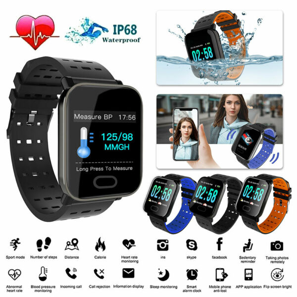 Bluetooth Smart Watch Blood Pressure Heart Rate Monitor Fitness Sports Wristband