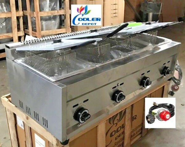 NEW 4 Burner Compartment Deep Fryer Model FY6Natural Gas Propane Use LP Outdoor $705.94
