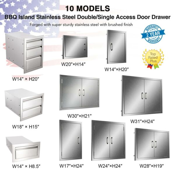 Stainless Steel BBQ Double Single Door Drawer Access Outdoor Kitchen 14#x27;#x27; 31#x27;#x27;