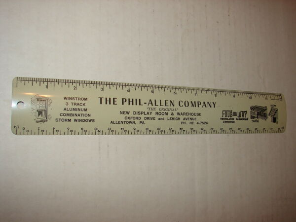 Metal Ruler The Phil Allen Company Allentown Pa Four Way Aluminum Awnings