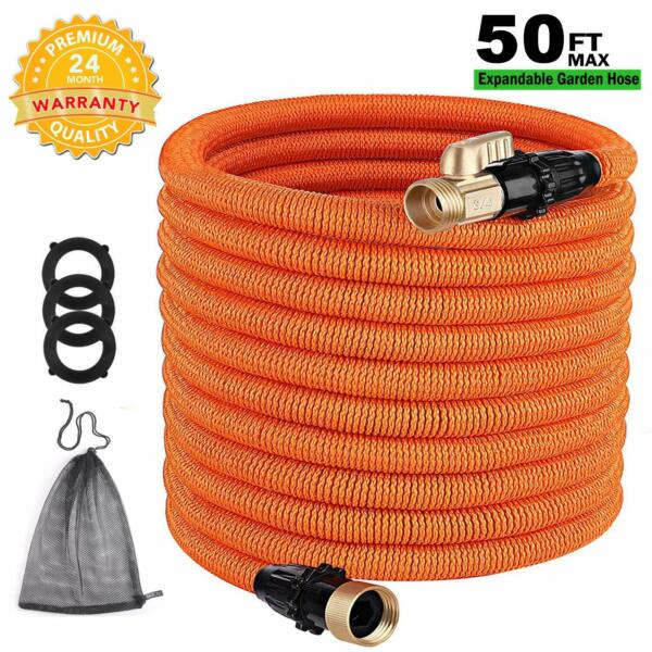 TACKLIFE Classic Essential 50ft Expandable Garden Hose with Double Latex Core, 3