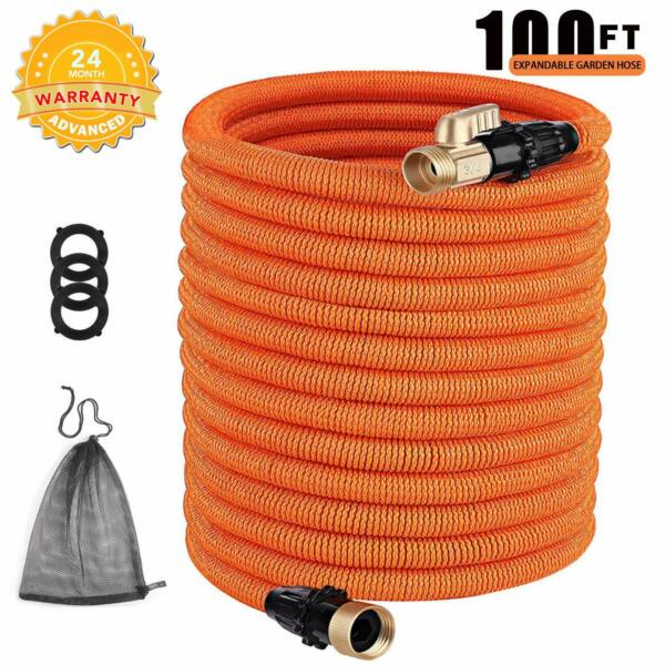 TACKLIFE 100ft Expandable Garden Hose with Double Latex Core 34' Brass Connect