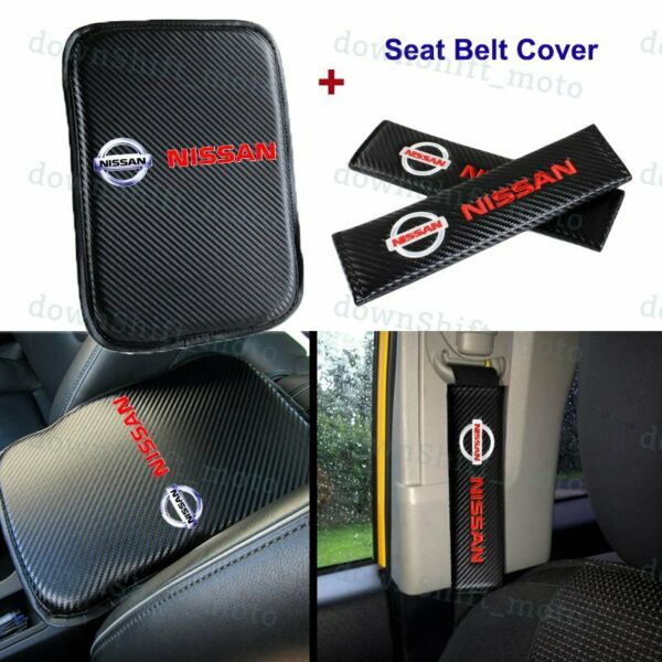 Carbon Fiber Car Center Armrest Cushion Mat Pad + Seat Belt Cover Set For NISSAN