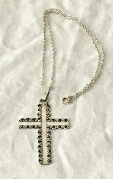 Large solid STERLING SILVER FILIGREE CROSS PENDANT 925 NECKLACE 18 in chunky 6g