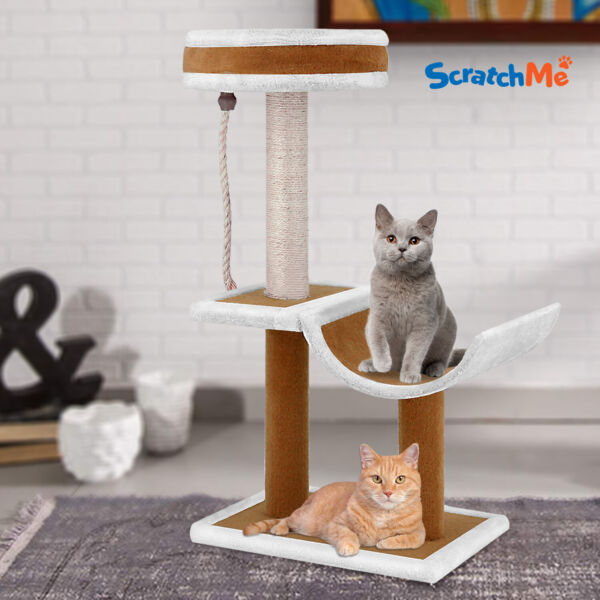 ScratchMe Cat Tree Condo w Hammock Scratching Post Cat Climbing Tower