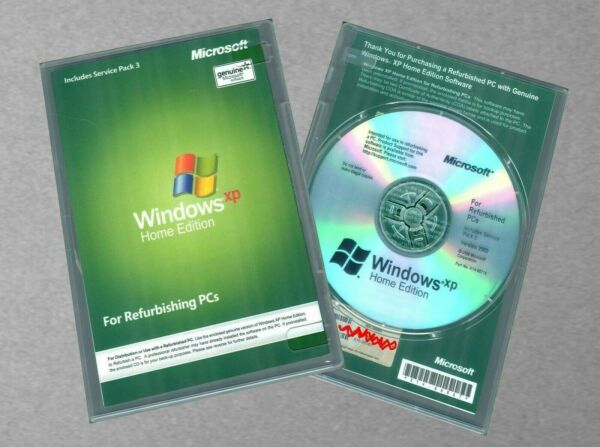 NEW Microsoft Windows XP Home Edition SP3 w RFB Disc COA and CD Product Key