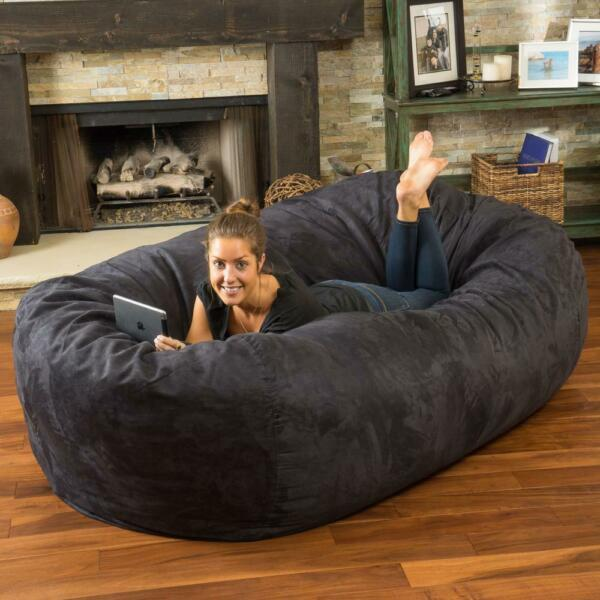 Adult Bean Bag Chair Giant Large Dorm Furniture 8 ft Sofa Lounge College Couch $201.95