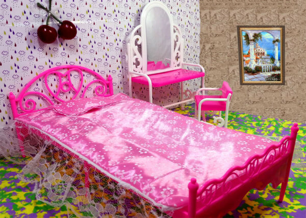 1:6 Kids Toy Pink Bed amp; Dresser Dressing Table Dollhouse Furniture For 1 6 Doll $10.62