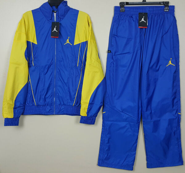 NIKE AIR JORDAN V RETRO 5 LANEY SUIT JACKET +PANTS BLUE YELLOW RARE (SIZE SMALL)