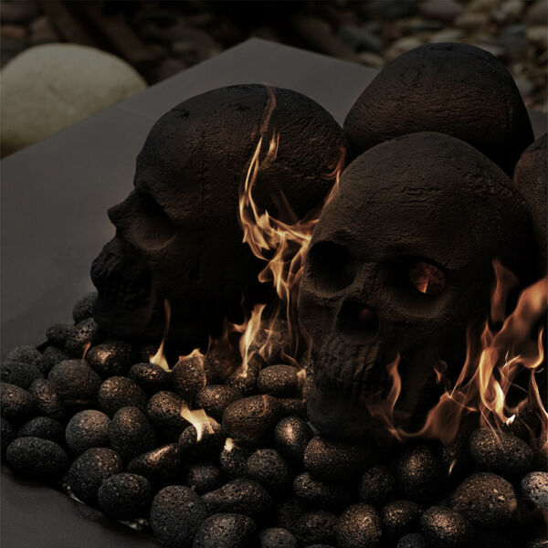Ceramic Skull  Fireproof Decor for Fire Pits & Fireplaces  1-Pack