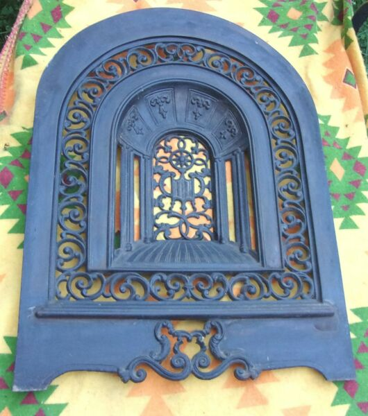 ANTIQUE CAST IRON DECORATED FIREPLACE FRONT SUMMER COVER SCREEN