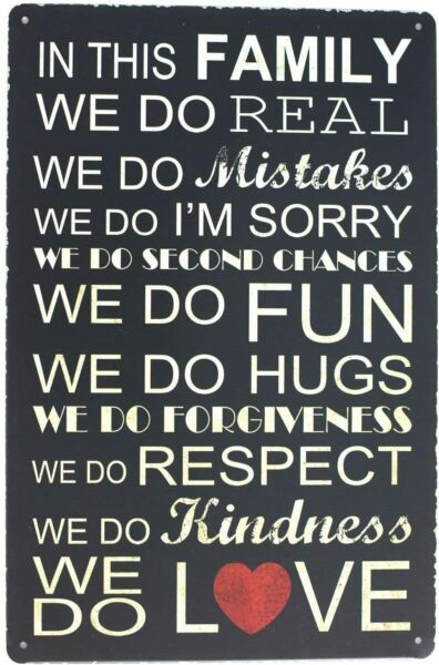 Rustic Metal Tin Family Rules Sign Posters Tin Rules Sign Wall Decor 12''X8''