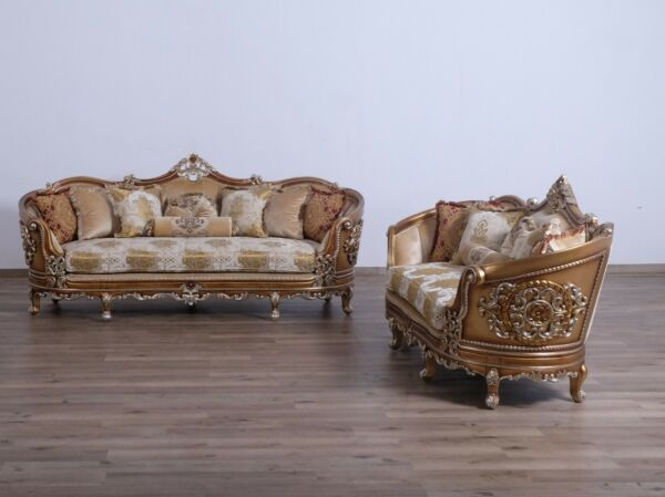 2 Pcs Sofa & Loveseat Formal Set Living Room 100% Hand Made Carved Furniture