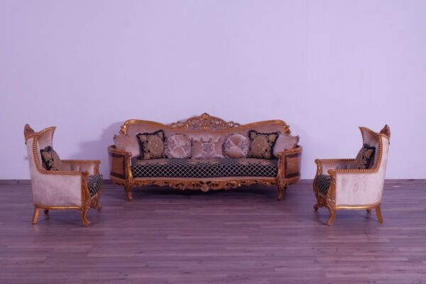 Formal 3Pc Sofa & Chair Black-Gold Fabric Handmade Carved Living Room Furniture