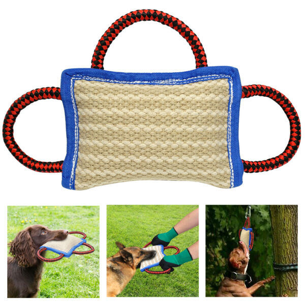 Young K9 Police Jute Dog Bite Tug With 3 Nylon Handles Training Pillow Durable