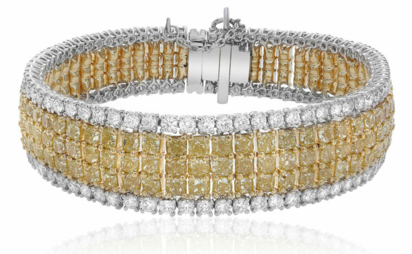LARGE 29.95CT WHITE & FANCY CANARY DIAMOND 18KT TWO TONE GOLD 3D TENNIS BRACELET