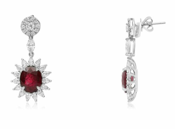GIA CERTIFIED 9.89CT DIAMOND & AAA RUBY 18KT WHITE GOLD FLOWER HANGING EARRINGS