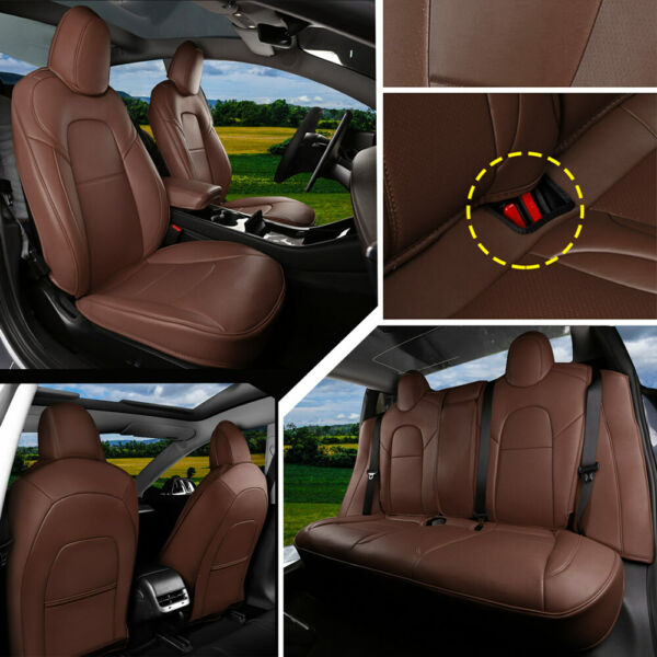 Seat Covers Set Fit For Tesla Model s 2013-2019 Coffee PU Leather 5-Seat Protect