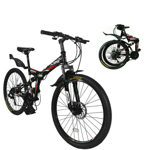 Xspec 26quot; 21 Speed Folding Mountain Bike Bicycle Trail Commuter Black $299.99