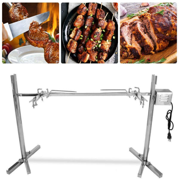 Electric BBQ Rotisserie Spit Chicken Grill Roaster Stainless Steel 15W 110V