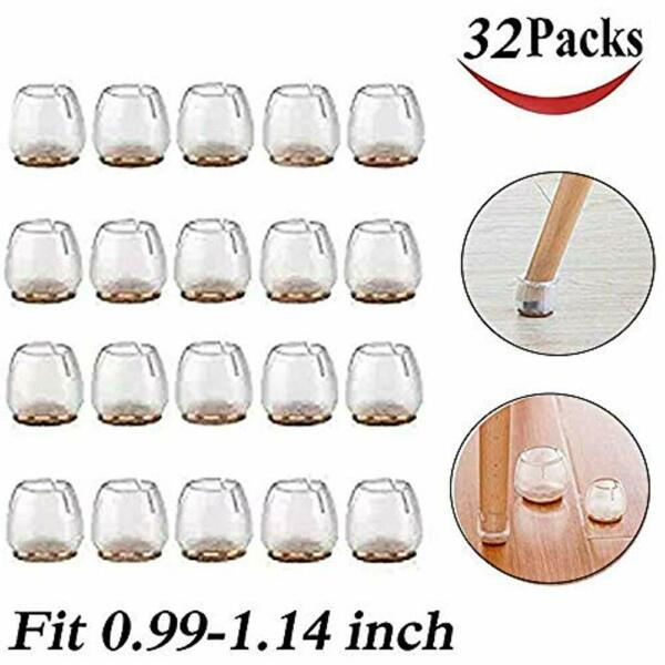 32 Pack Chair Leg Caps Silicone Floor Protector Round Furniture Table Feet Home