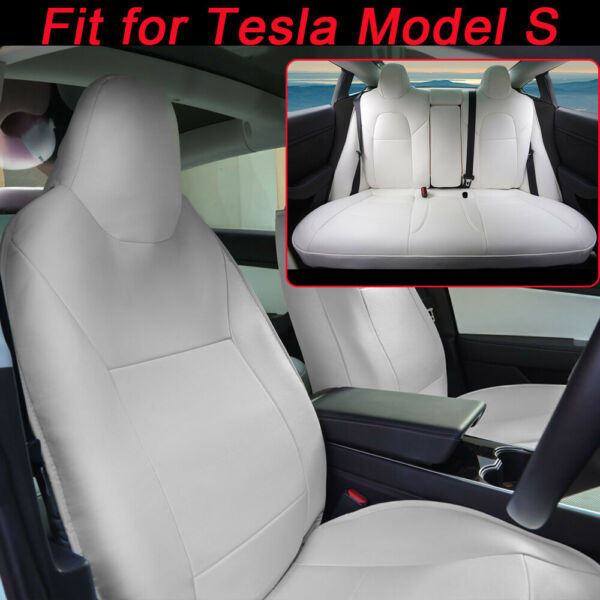 White Car Seat Covers Set Custom for Tesla Model S 2013 2014-2019 5-Seat Protect