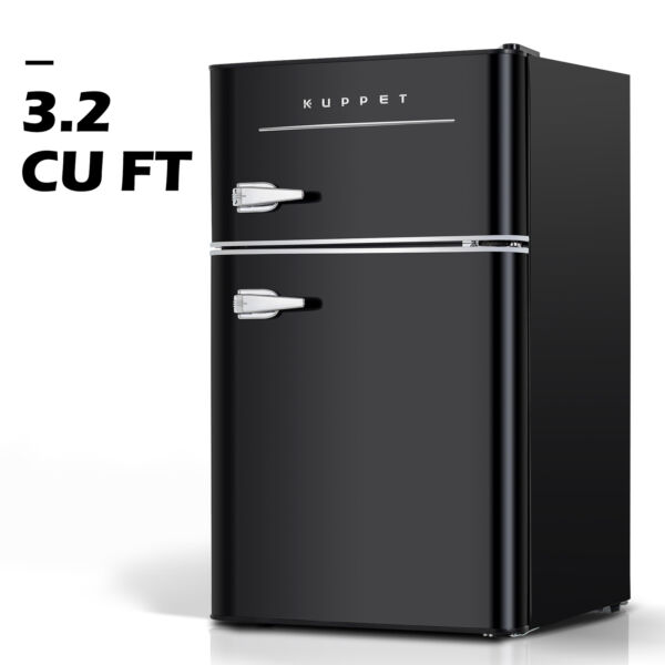 3.2 Cu.Ft Retro Mini Fridge 2-Door Compact Small Refrigerator Home Office Black