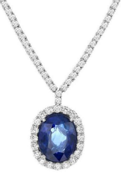 20.30CT DIAMOND & AAA SAPPHIRE 18KT WHITE GOLD OVAL HALO PRINCESS DIANA NECKLACE