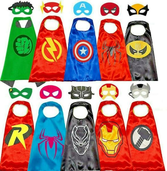 Superhero Capes with Masks Costumes for Kids Boys Girls Dress Up Cartoon Cosplay $6.99