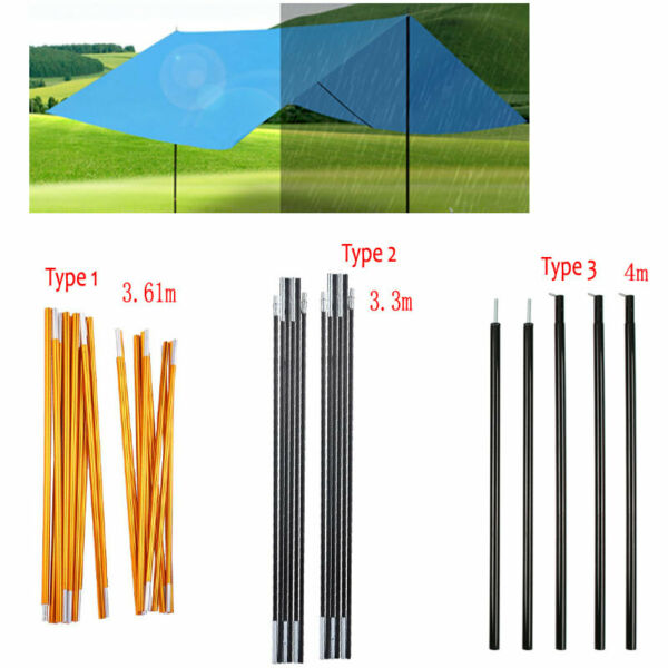 Camping Tent Pole Rain Tarp Trail Sun Shade Awning Shelter Canopy Support Kit