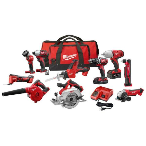 Milwaukee M18 Cordless Combo Tool Kit 10 Tools Drill Impact Circ Saw MultiTool