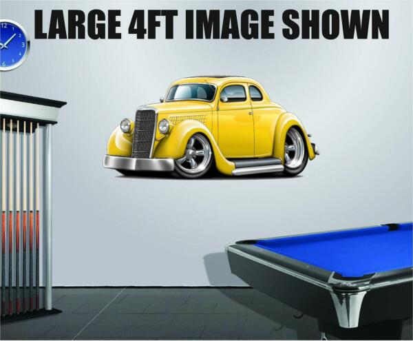 1934 Ford Coupe 302 Streetrod Cartoon Car Decal Graphic Corhole Tool Box Trailer $12.99