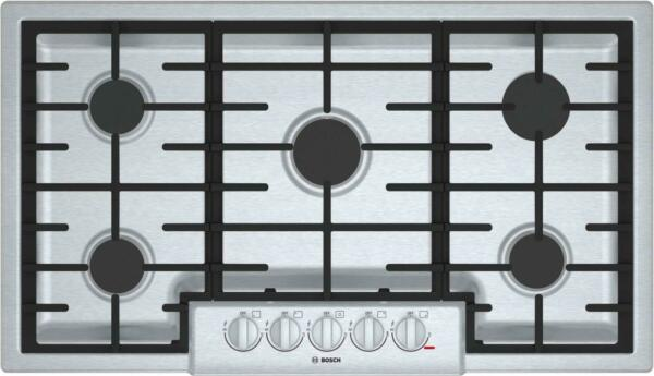 Bosch 800 Series 36'' Gas Cooktop 5 Sealed Burners Cast-Iron Grates NGM8656UC im