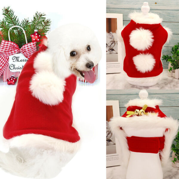 Dog Christmas Costumes for Small Dogs Cats Xmas Party Winter Coat Clothes Cloak $10.69