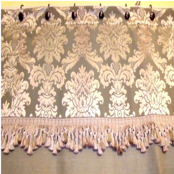 Custom Made To Order French Country Burlap And Toile Shower Curtain