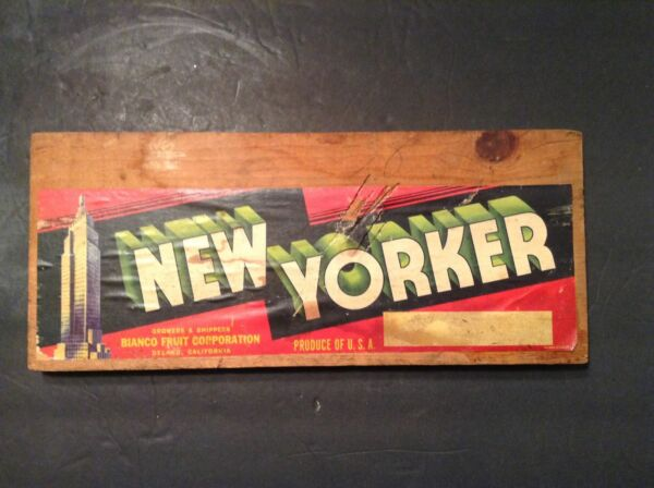 Vintage Reclaimed Wood Crate Sign NEW YORKER Bianco Fruit Corp. Produce