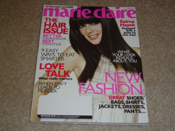 SALMA HAYEK cover May 2007 MARIE CLAIRE MAGAZINE * THE HAIR ISSUE