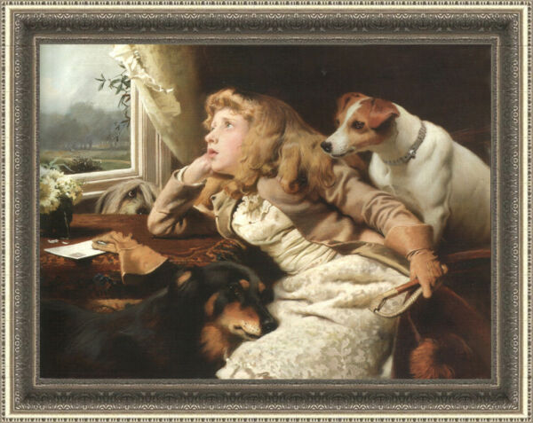Hand-painted Old Master-Art Oil painting Small girl and dog on Canvas 30