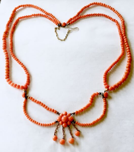 Victorian no dye SALMON coral pendant buttons festoon necklace