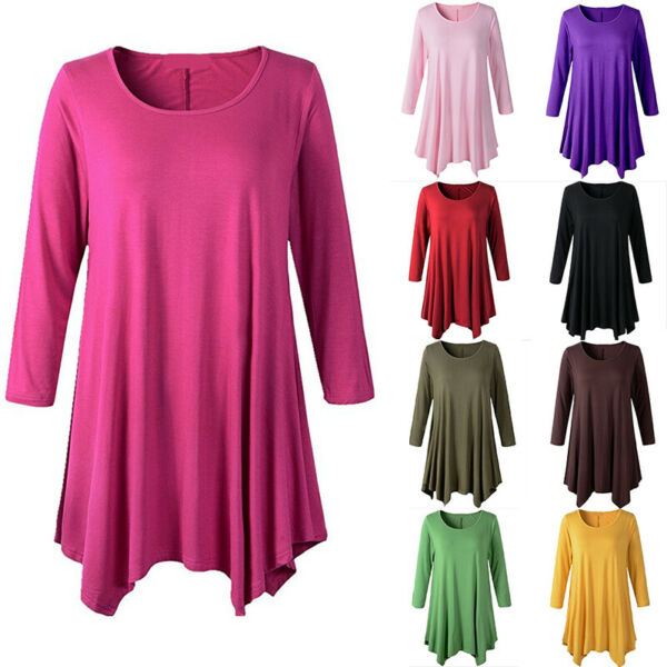 Womens Cotton Swing 34 Sleeve Tunic Tops Blouse Loose Solid T-Shirt Plus Size